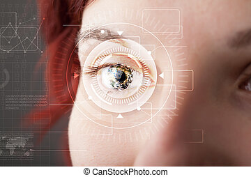 schauen, technolgy, auge, m�dchen, cyber