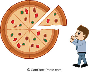 schauen, vektor, -, karikatur, pizza
