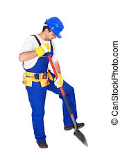 schaufel, arbeiter, arbeitende , uniform