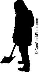 schaufel, silhouette, freigestellt, abbildung, vektor, hintergrund, weißes, mann