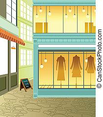 schaufensterauslage, in, kaufmannsladen