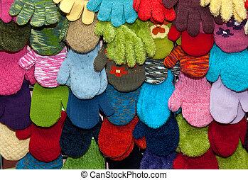 schaukasten, kinder, fausthandschuhe, und, handschuhe