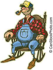 schaukelstuhl, älterer mann