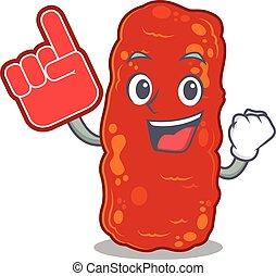 schaum, zeichen, bakterien, finger, dargestellt, design, acinetobacter, karikatur
