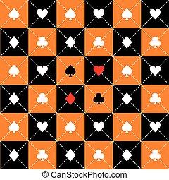 scheda, addirsi, arancia, nero, bianco, scacchiera, diamante, fondo