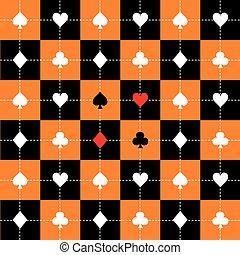 scheda, addirsi, arancia, nero, bianco, scacchiera, fondo