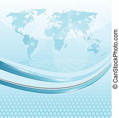 scheda affari, con, mappa mondo