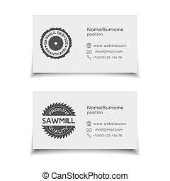 scheda affari, per, segheria, servizio, bianco, fondo., vettore, illustrazione