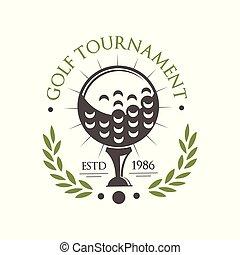 scheda, affari, vettore, logotipo, campionato, est, sport, sfondo bianco, club, torneo, retro, golf, illustrazione, etichetta, 1986