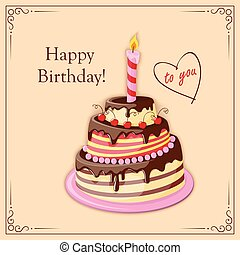 scheda, candela, fila, torta, testo, compleanno