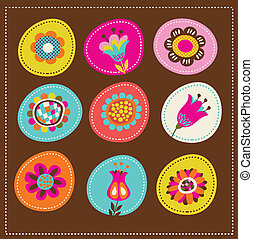 scheda, carino, augurio, collezione, decorativo, fiori