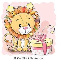 scheda, carino, leone, augurio, regalo