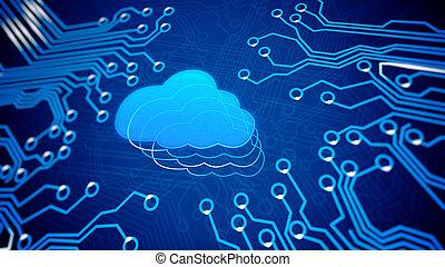 scheda circuito, con, cloud.
