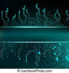 scheda circuito, fondo, con, blu, electronics.