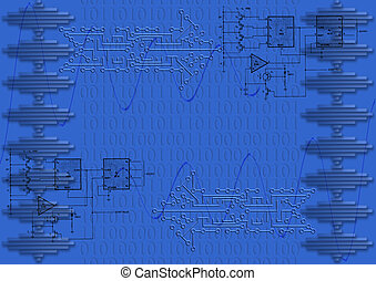 scheda circuito, freccia, con, numeri binari