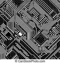 scheda circuito, industriale, elettronico, monocromatico,...