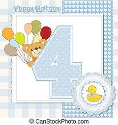 scheda, compleanno, anniversario, quarto