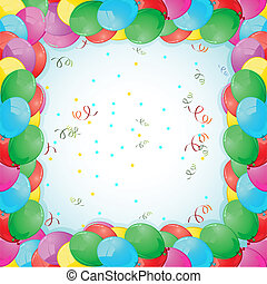 scheda compleanno, con, balloon