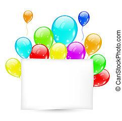 scheda compleanno, con, palloni coloriti, con, spazio, per, testo