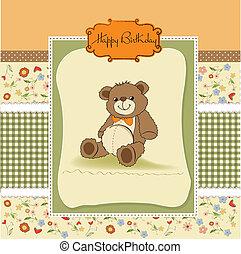 scheda compleanno, con, uno, orso teddy