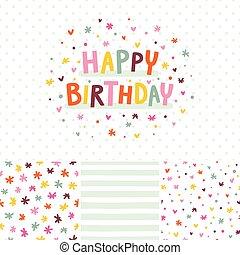 scheda compleanno, e, seamless, modelli, set