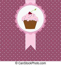 scheda compleanno, torta, ciliegia