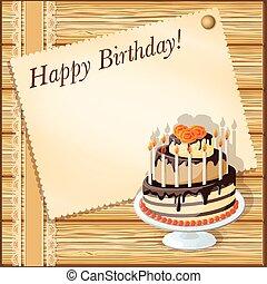 scheda compleanno, torta
