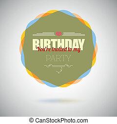 scheda, compleanno, vettore, disegno, sagoma, invito, festa