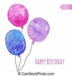 scheda, con, colorato, vernice acquarellatura, balloons.