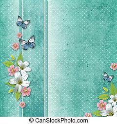scheda, con, fiori, e, farfalla, per, congratulazione, a,...