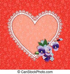 scheda, con, forma cuore, è, fatto, di, laccio, doily, e, viola del pensiero, folwers, su