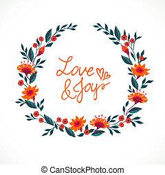 scheda, con, mazzolino, di, primavera, e, estate, fiori