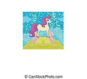 scheda, con, stelle, e, uno, bello, unicorno