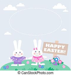 scheda, con, uova pasqua, e, coniglietti