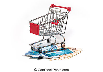 Scheda, credito,  shopping, isolato, carrello