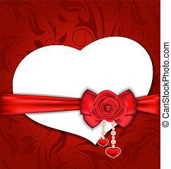 scheda, cuore ha modellato, con, seta, arco, e, rosso sorto, per, valentina, giorno