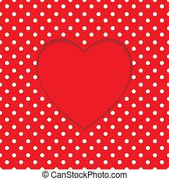 scheda, cuore, polka-puntino, forma., fondo