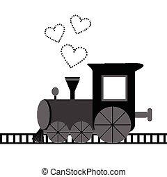scheda, cuori, amore, locomotiva, punteggiato