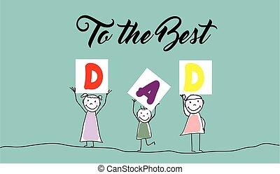 scheda, disegnato, giorno, father's, mano
