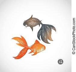 scheda, due, goldfishes, gioco
