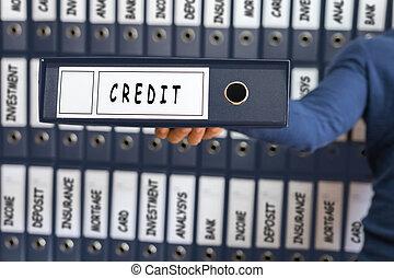scheda, equilibrio, anello, concept., investimento, presa a terra, binder., linea, uomo, credito, giovane