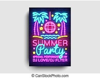 scheda, estate, bandiera, tendenza, manifesto, moderno, neon, illustrazione, invito, typography., luminoso, vettore, disegno, pubblicità, luce, template., festa, disegno, festa, stile