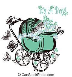 scheda, farfalle, esso, carrozzina, ragazzo compleanno, ...
