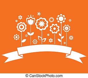 scheda, fiori, vettore, augurio, nastro