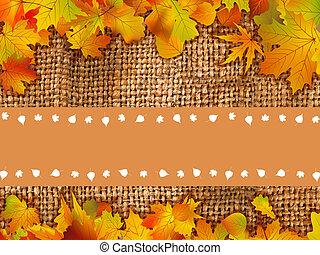 scheda, foglie, ringraziare, fondo, lei