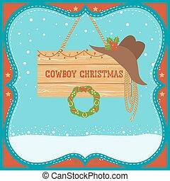 scheda, fondo, inverno, cappello natale, cowboy, occidentale