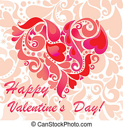 scheda, giorno, augurio, valentine