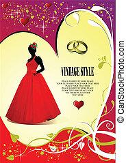 scheda, invito, matrimonio, sposa