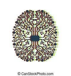 scheda madre, cervello, bianco, fondo