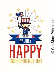 scheda, manifesto, augurio, giorno, aviatore, quarto, luglio, o, indipendenza, felice
